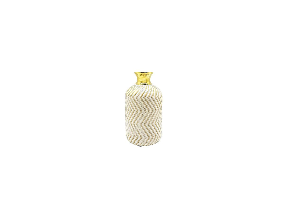Vaso Cerâmica Decorativo Nude com Borda Dourada 14cm