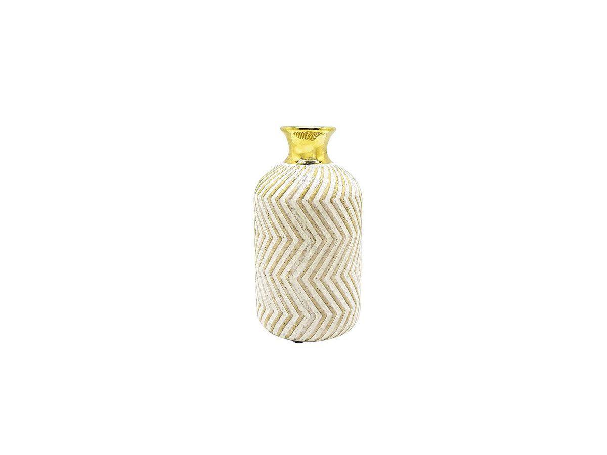 Vaso Cerâmica Decorativo Nude com Borda Dourada 18cm
