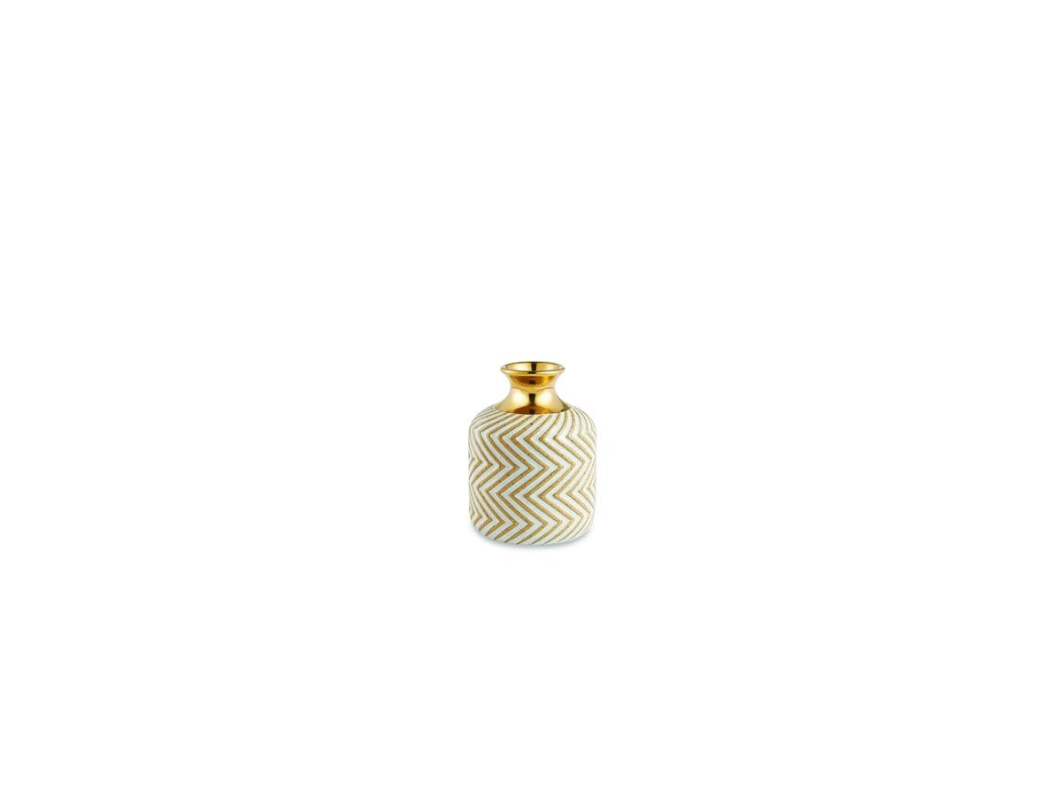 Vaso Cerâmica Decorativo Nude com Borda Dourada 9cm