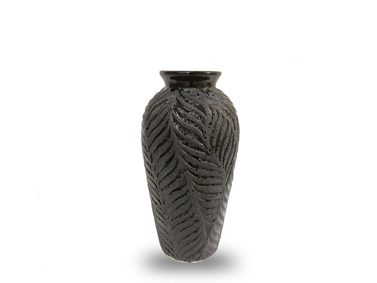 Vaso Ceramica Preto Folhagem -  30CM