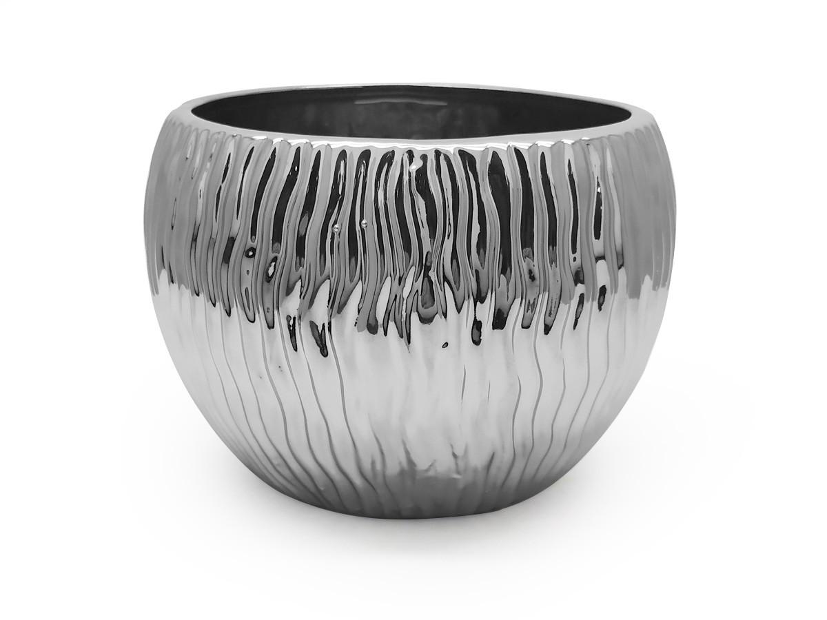 Vaso cerâmica redondo prateado texturizado - 13 x 16,5 cm