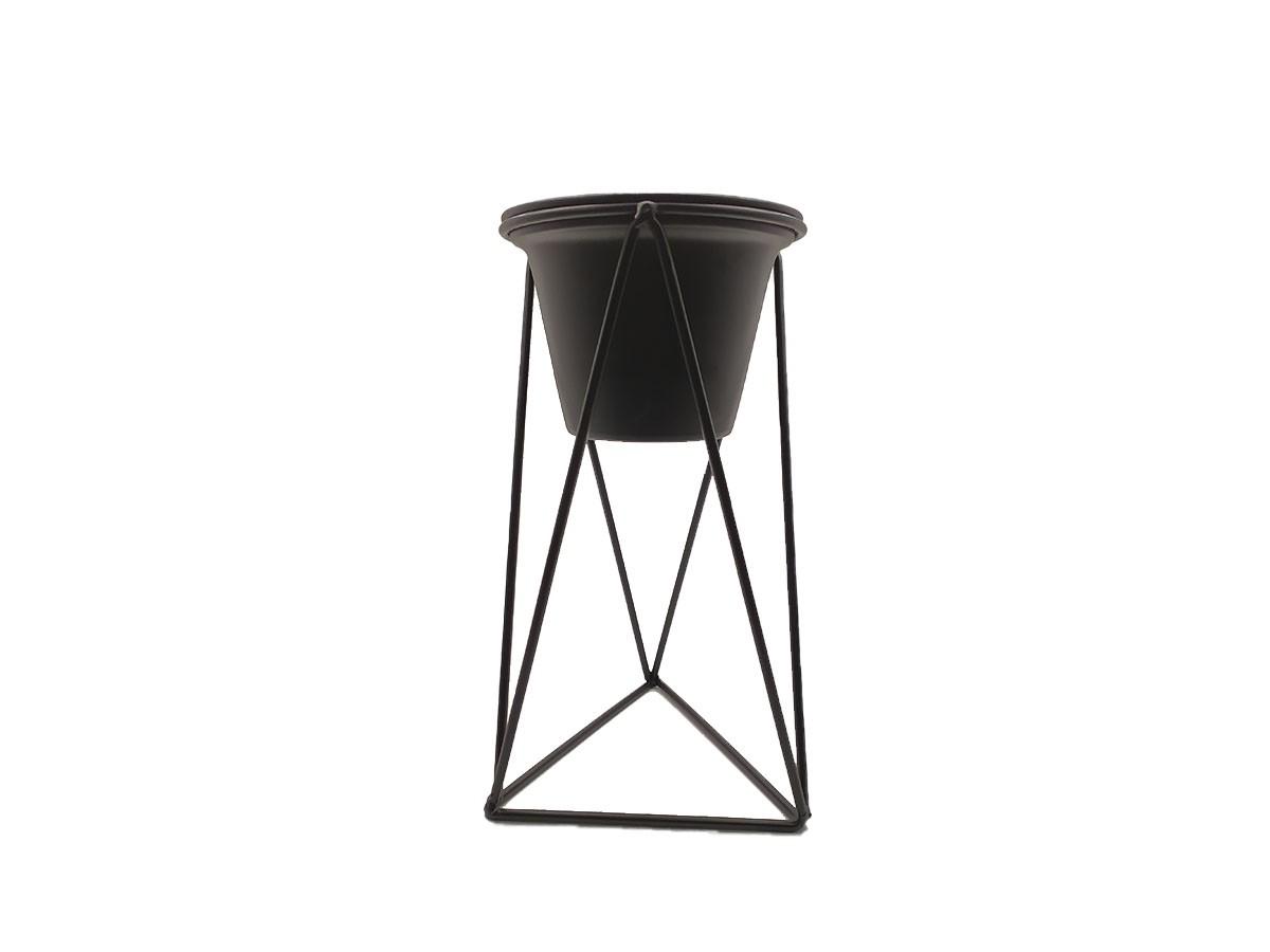 Vaso com suporte em metal preto - 13 x 26 cm