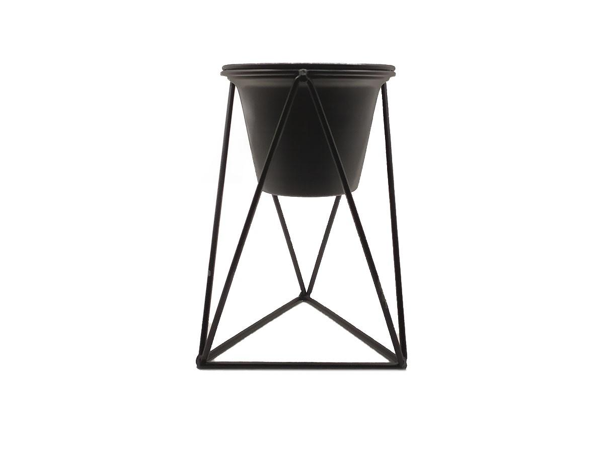 Vaso com suporte em metal preto - 13 x 21 cm