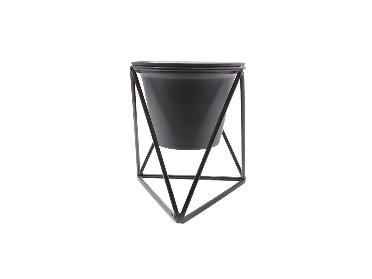 Vaso com suporte em metal preto - 15 x 13 cm