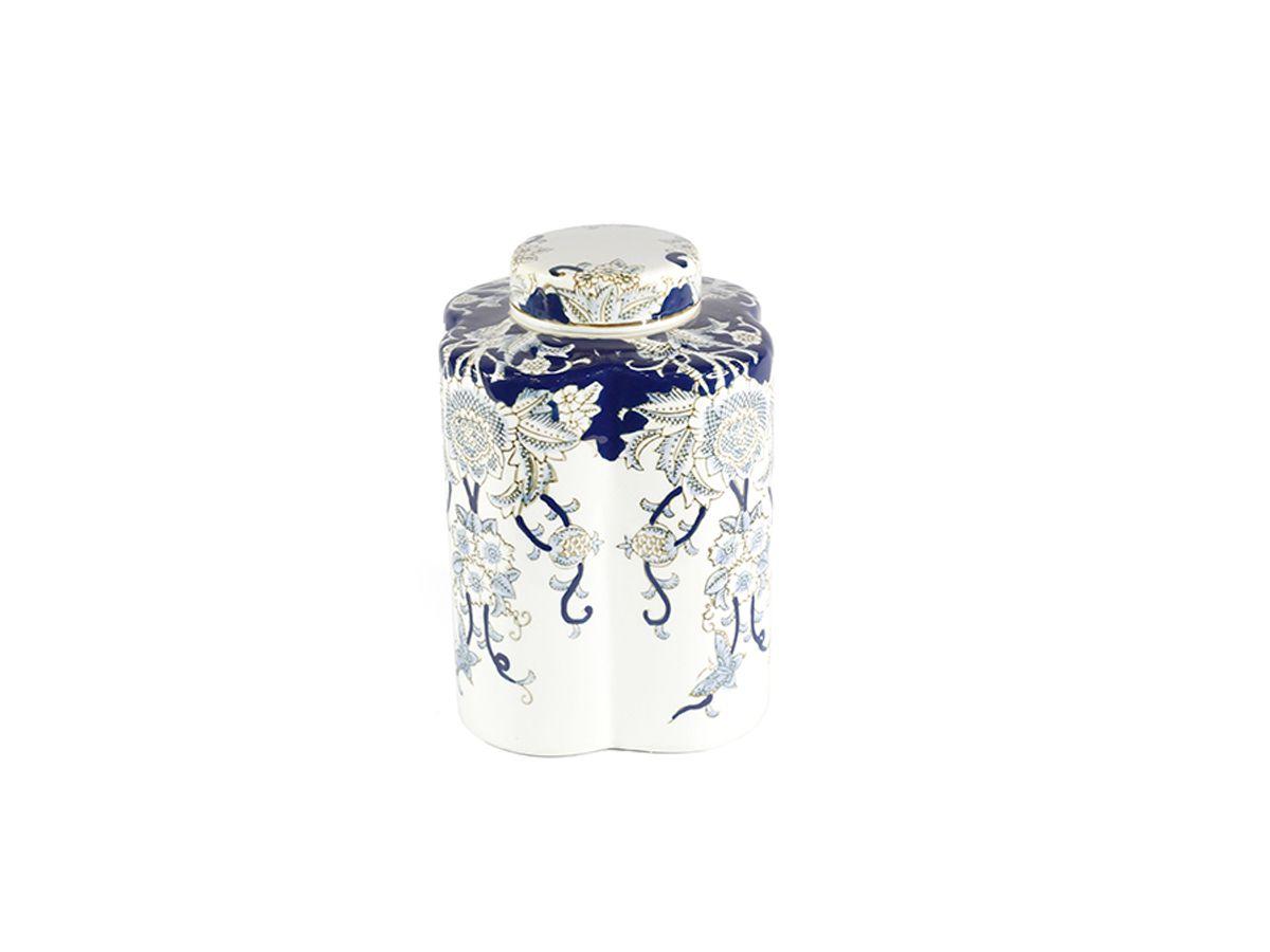 Vaso com tampa em Cerâmica Portuguesa - 17x23 cm
