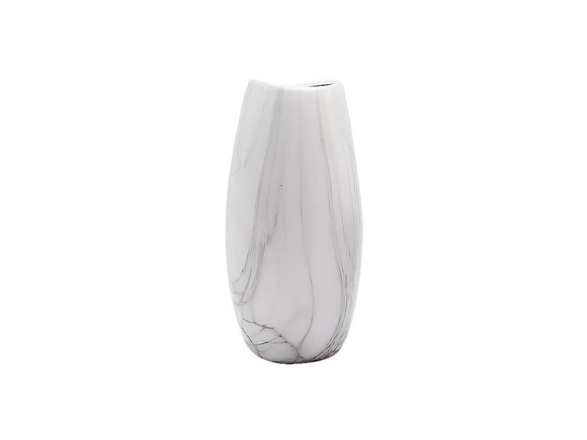 Vaso de Ceramica Oval Ondulado Marmorizado 16x9cm
