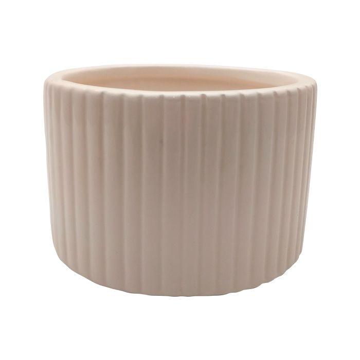 Vaso De Ceramica Redondo Branco Plissado 9,5X6,5Cm