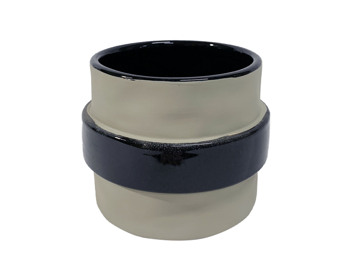 Vaso de Ceramica Stone Cinza Faixa Preta 11cm