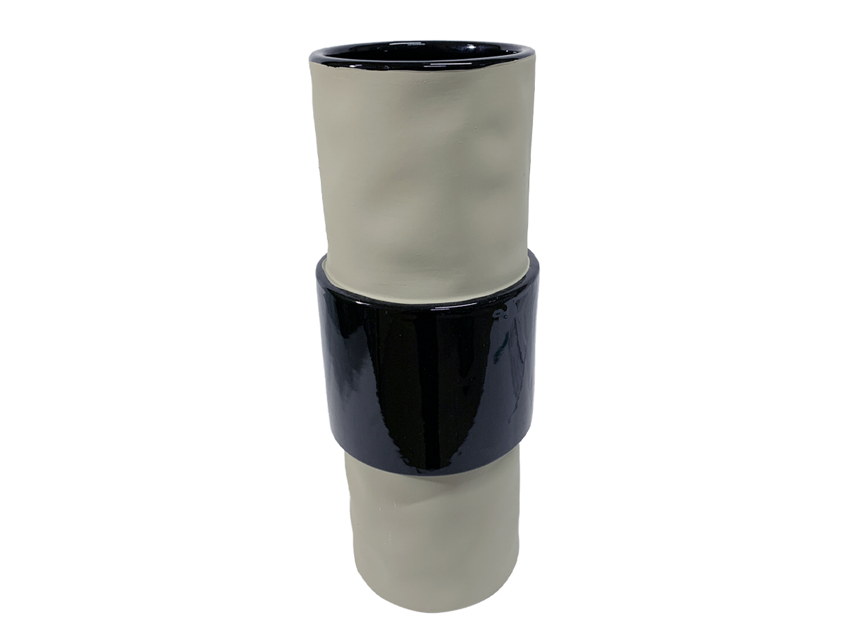Vaso de Ceramica Stone Cinza Faixa Preta 31,5cm