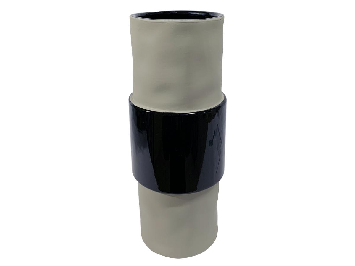 Vaso de Ceramica Stone Cinza Faixa Preta MD
