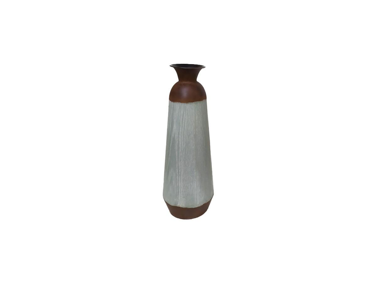 Vaso de chão em metal rústico e cinza - 54 cm