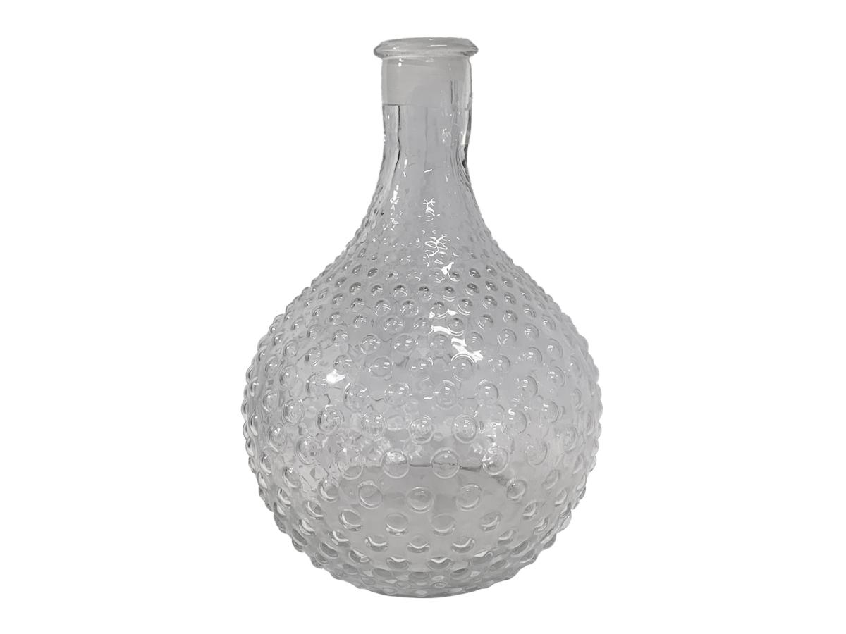 Vaso de Vidro Bojudo Bolhas Transparente 33cm