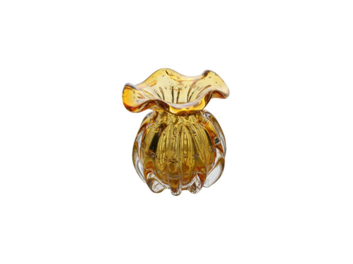 Vaso de Vidro Italy Ambar e Dourado - 11,5x13 cm
