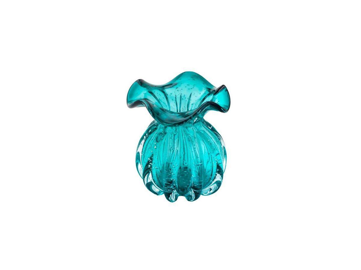 Vaso De Vidro Italy Azul Tiffany 11,5X13 cm