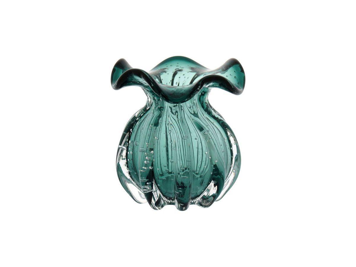 Vaso De Vidro Italy Verde Esmeralda 10X11 cm