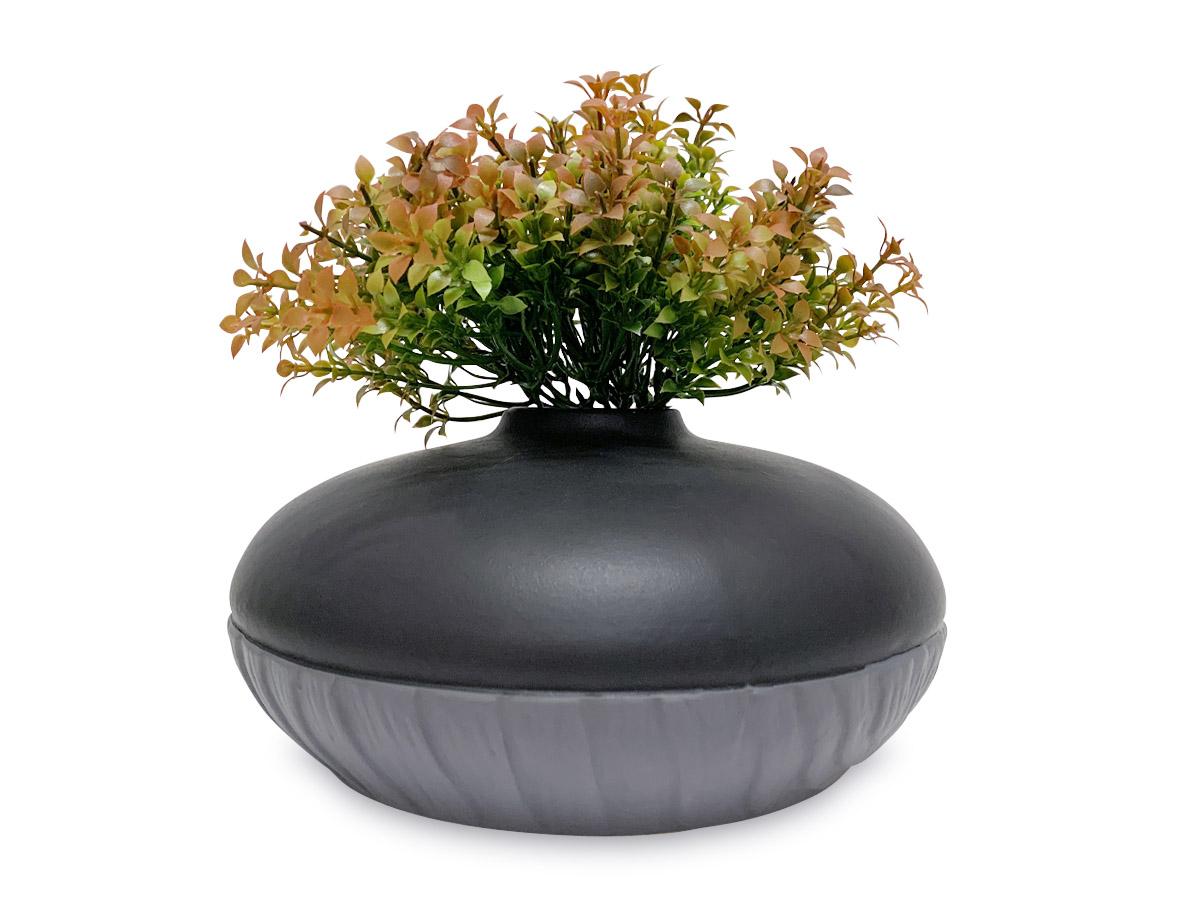 Vaso Decoração Cerâmica Preto com Cinza 9,5X20X20 Cm