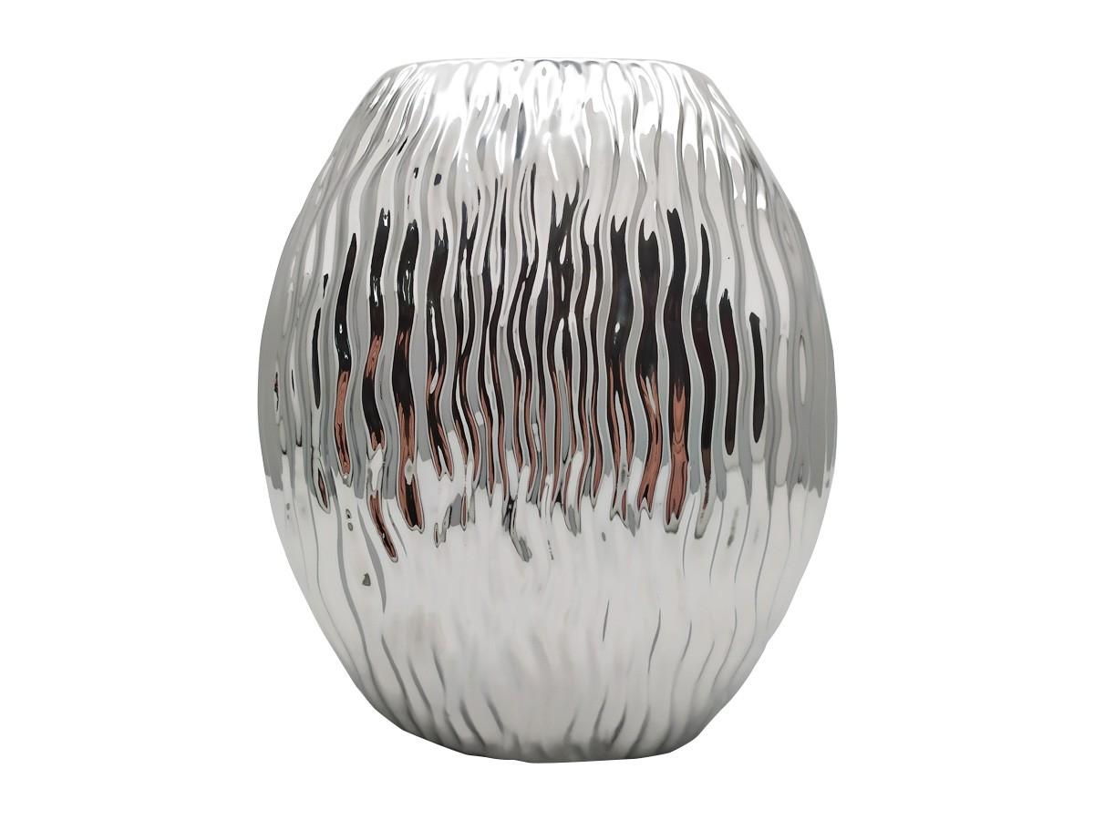 Vaso em cerâmica achatado prateado - 22,5 x 0,7 cm