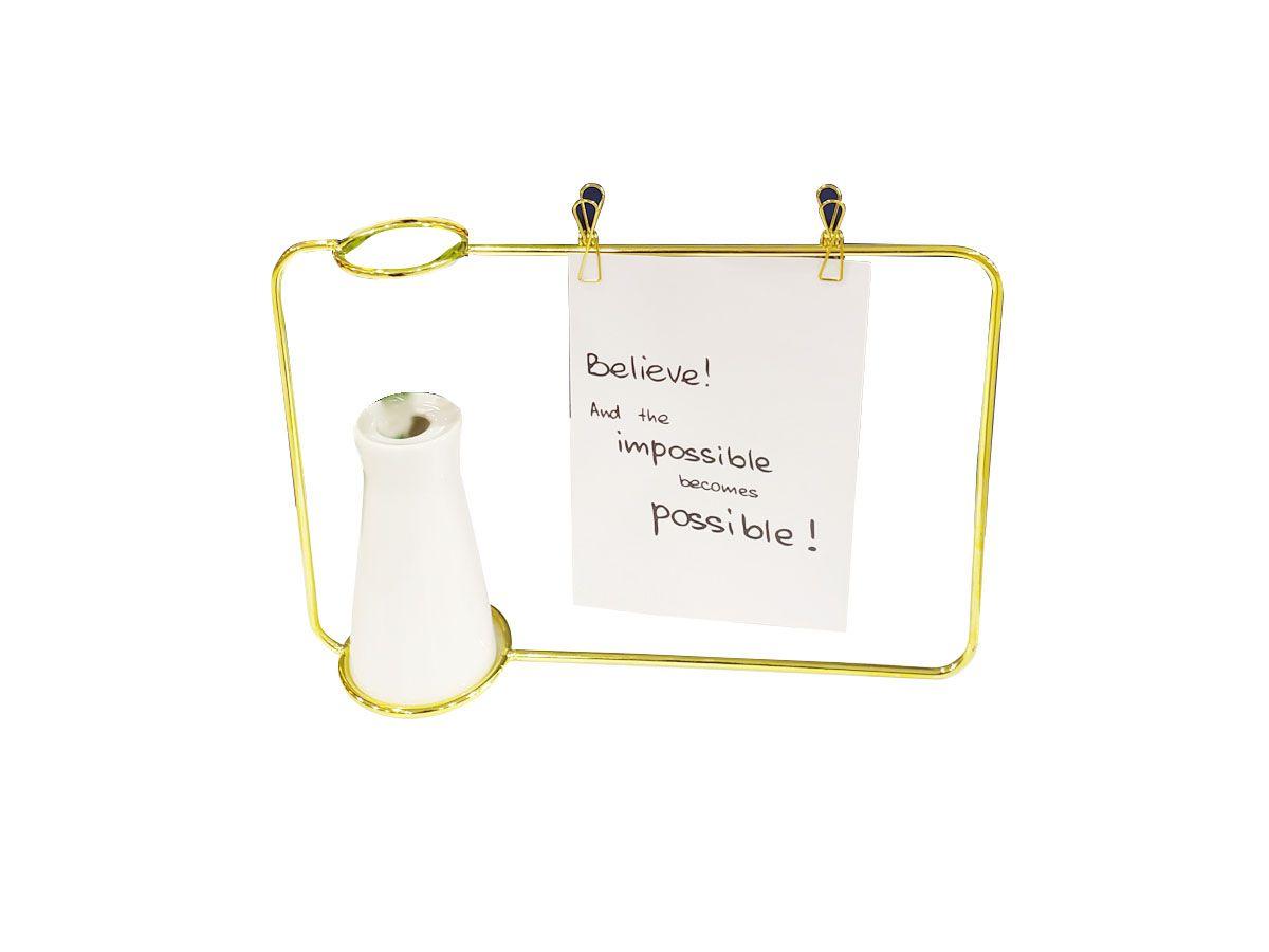 Vaso em cerâmica com porta recado / fotografia - 10 x 5,2 cm Dourado