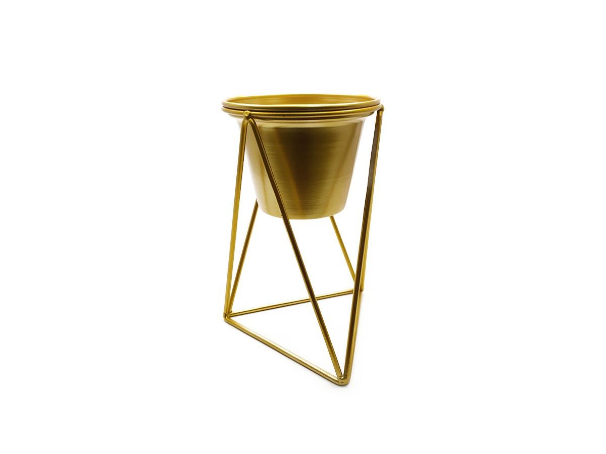 Vaso com suporte em metal dourado - 13 x 21 cm