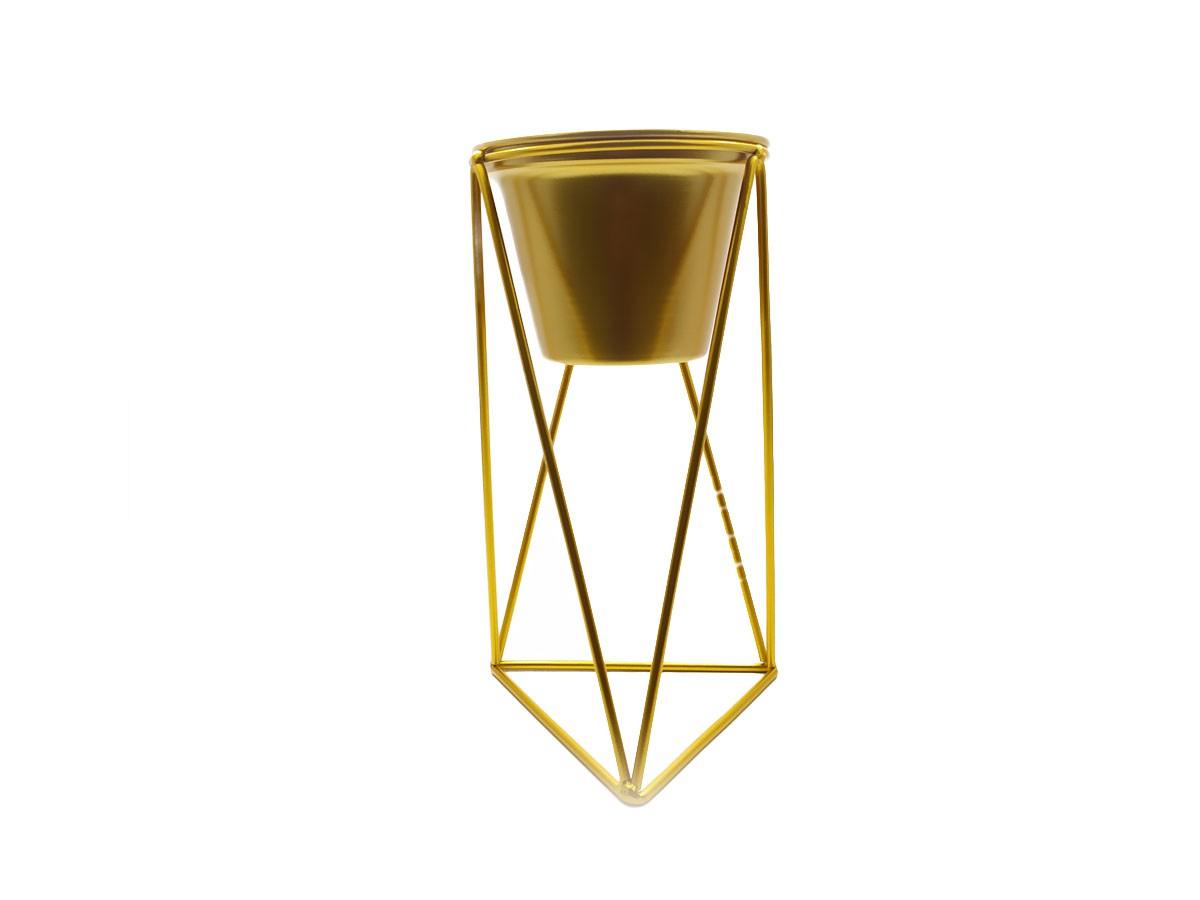 Vaso com suporte em metal dourado - 13 x 26 cm
