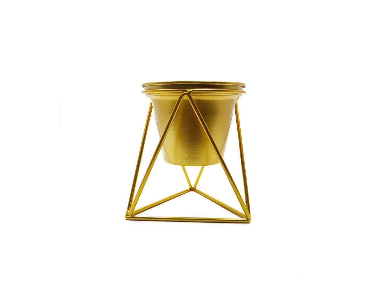 Vaso com suporte em metal dourado - 15 x 13 cm