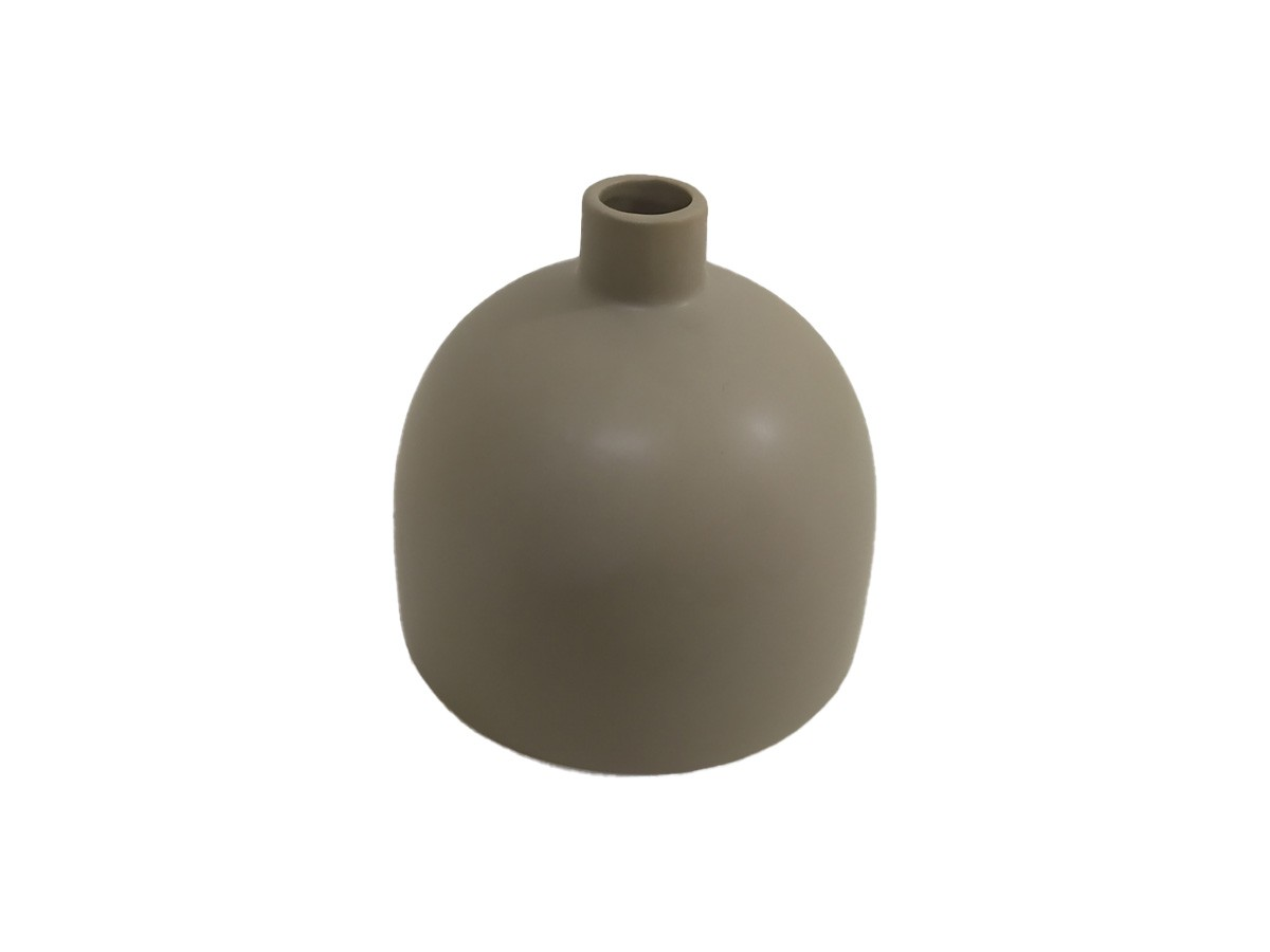 Vaso em cerâmica decorativo cinza - 12,5 x 13 cm