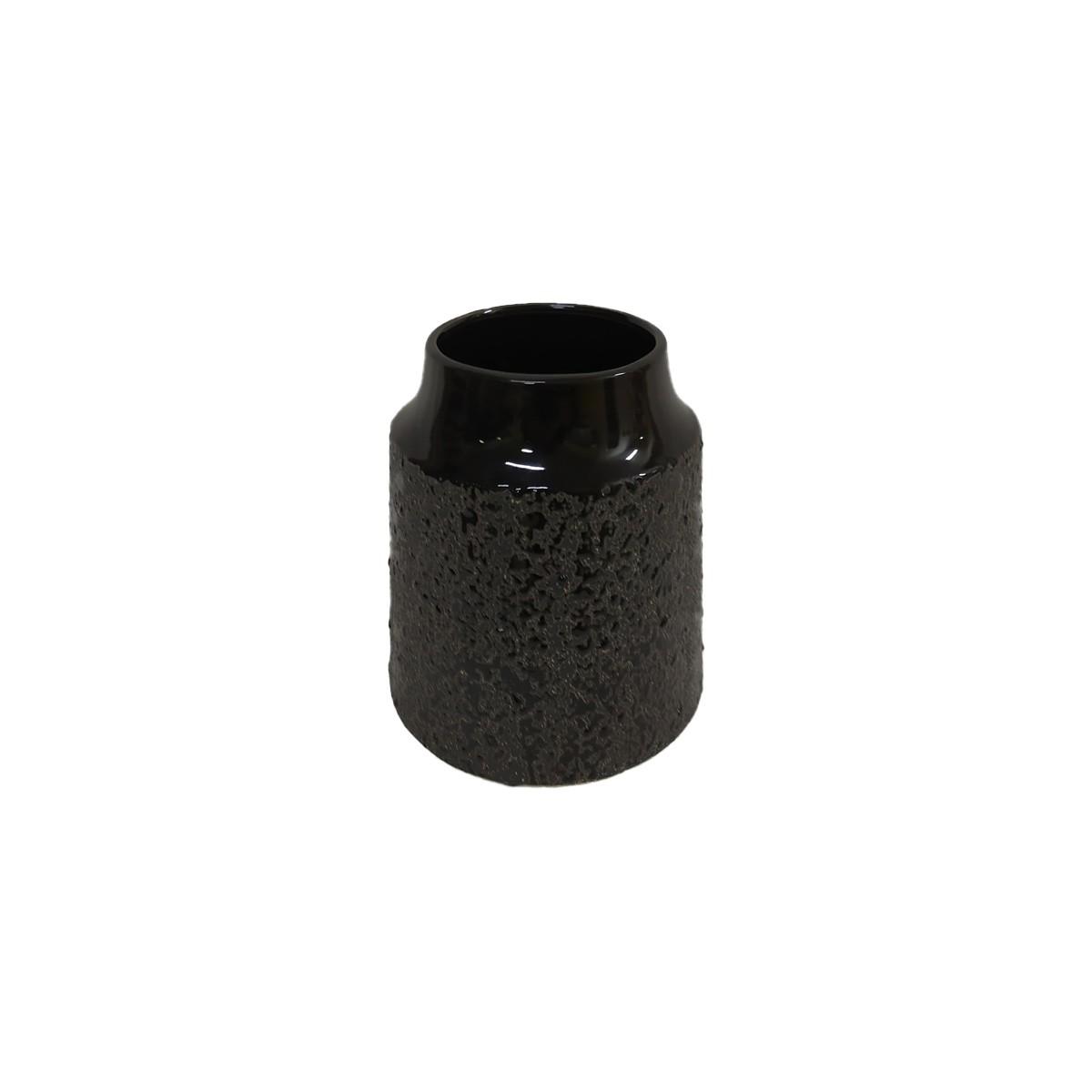 Vaso em Cerâmica Preta texturizada - 15,2 cm