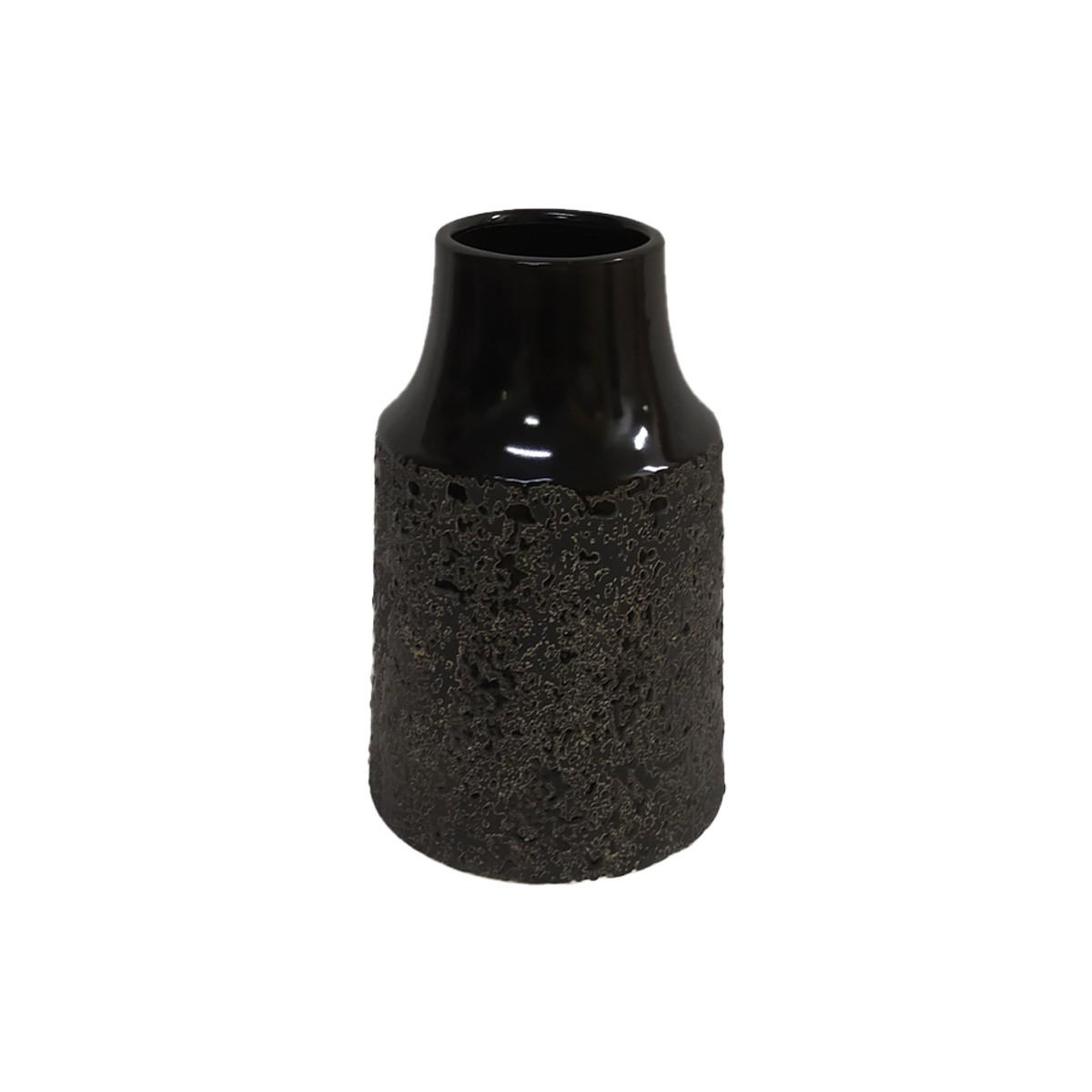 Vaso em Cerâmica Preta texturizada - 21,5 cm