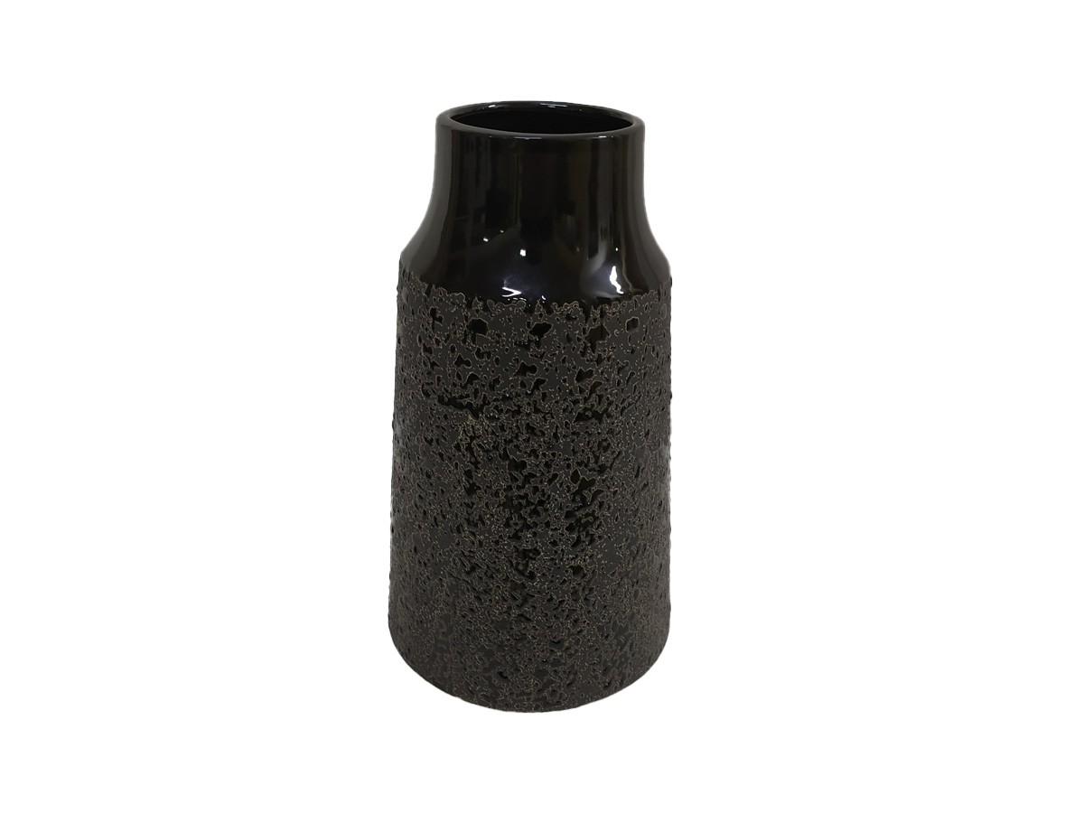 Vaso em Cerâmica Preta texturizada - 25,5 x 08 x 14 cm