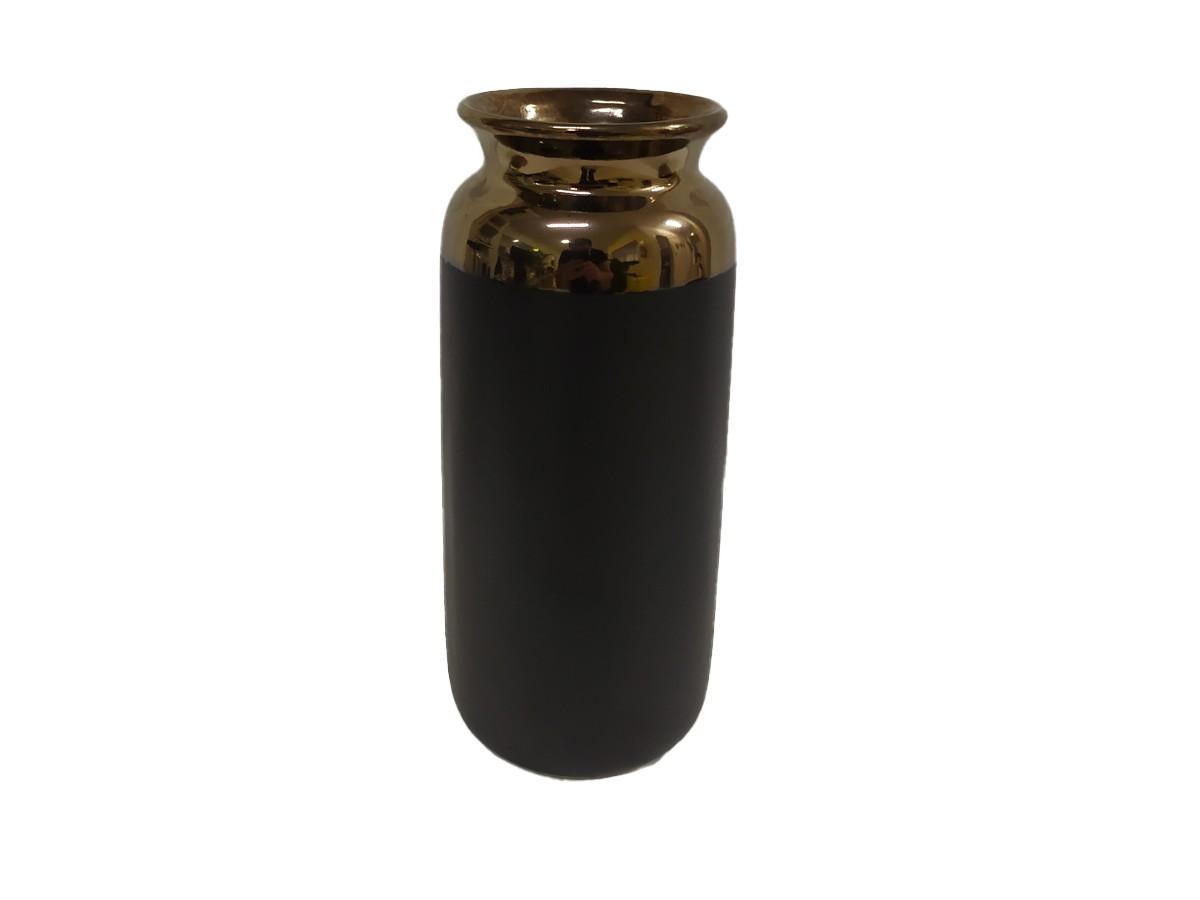 Vaso em Ceramica preto com borda cobre - 25 x 10,5 x 9,5 cm