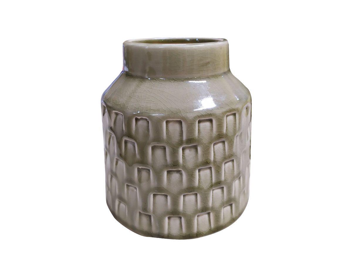Vaso em Cerâmica Trama Fendi - 15,5 x 9 x 14 cm