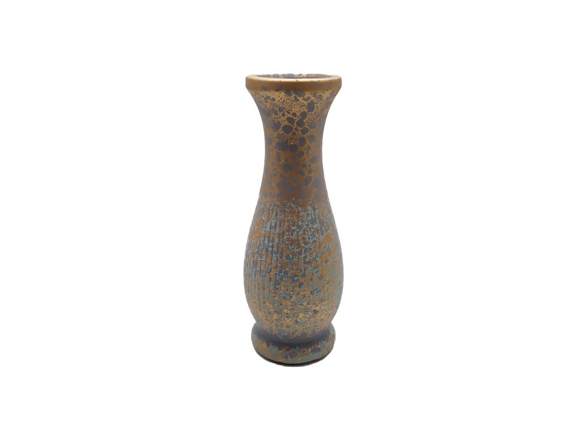 Vaso em cerâmica verde/dourado envelhecido - 19 cm