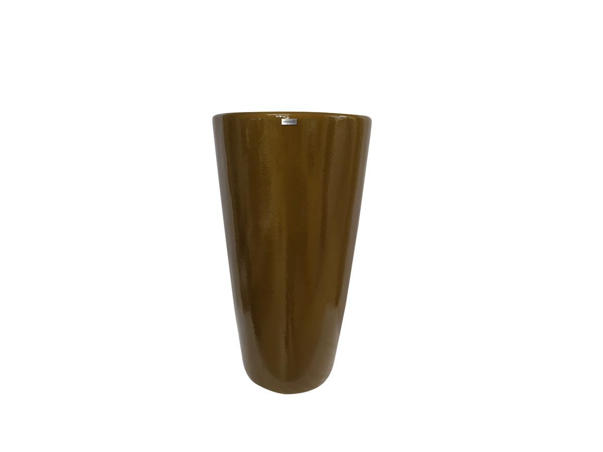 Vaso em fibra de vidro Pilão Médio - Ouro Envelhecido