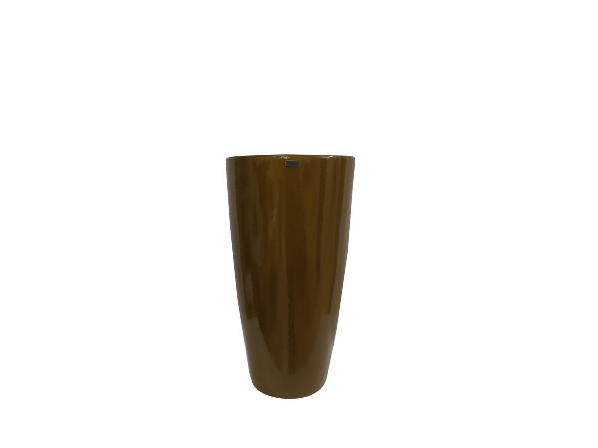 Vaso em fibra de vidro Pilão Pequeno - Ouro Envelhecido