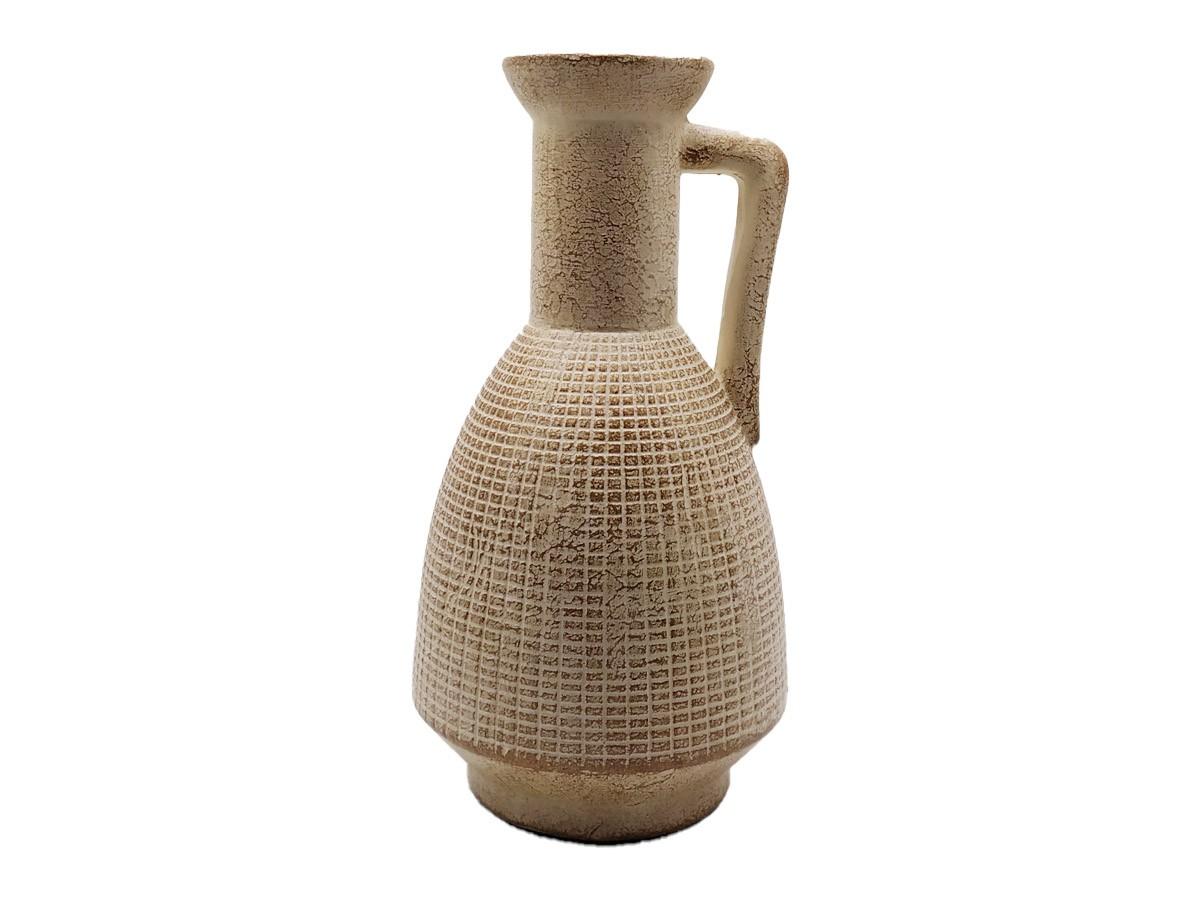 Vaso Jarro em cerâmica bege/dourado envelhecido - 25,5 cm
