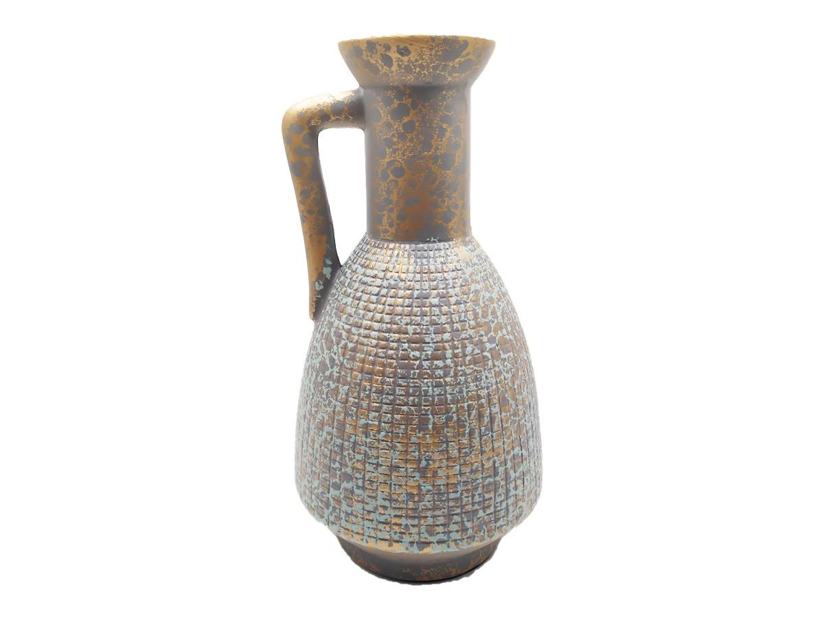 Vaso Jarro em cerâmica verde/dourado envelhecido - 25,5 cm