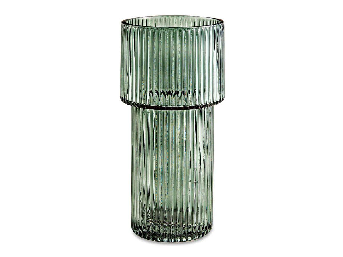 Vaso Vidro Plissado Verde 25x11,5cm