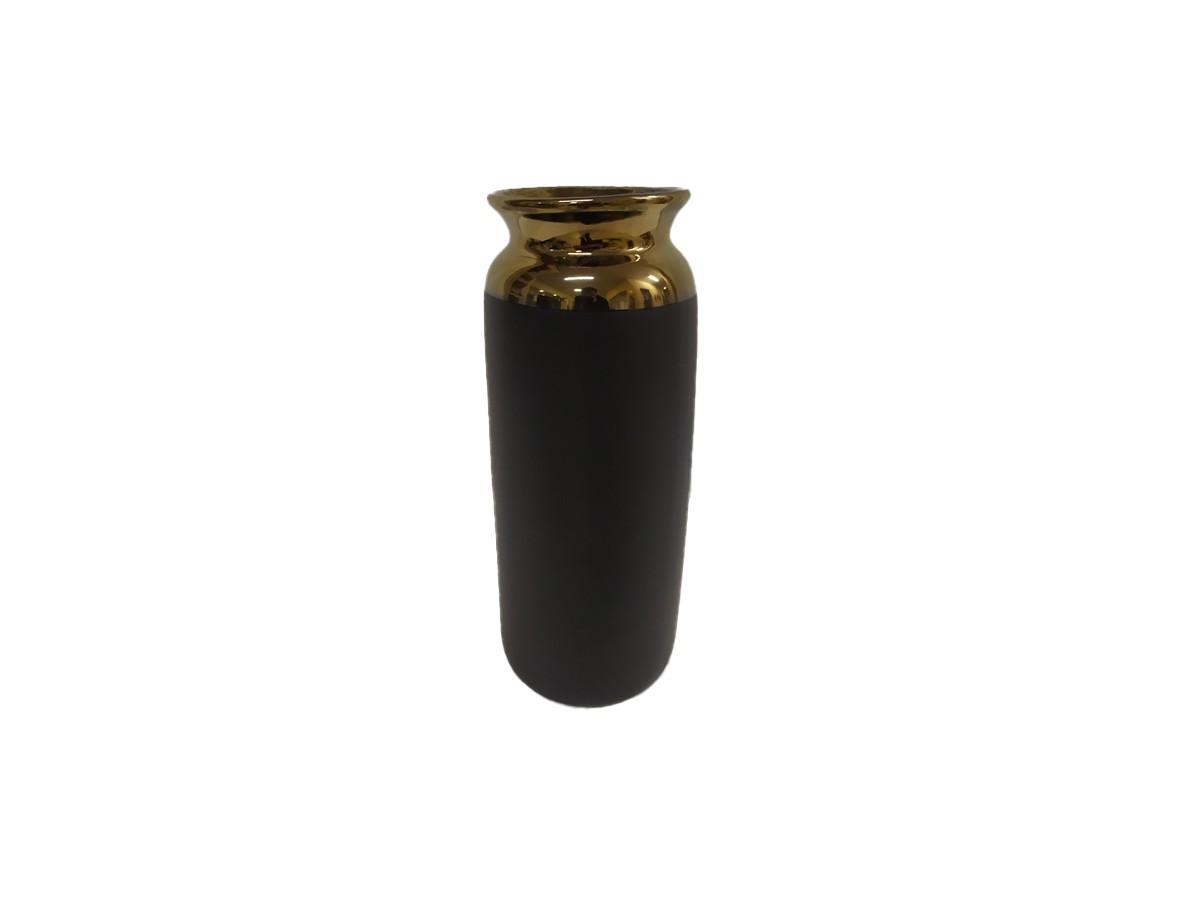 Vasos em cerâmica preto com borda cobre - 20,5 x 10 x 9 cm