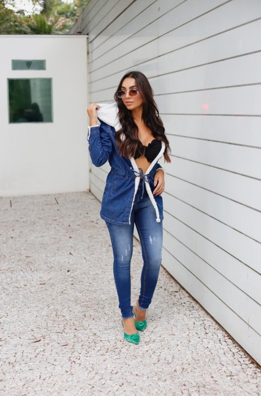 Parka jeans com amarração