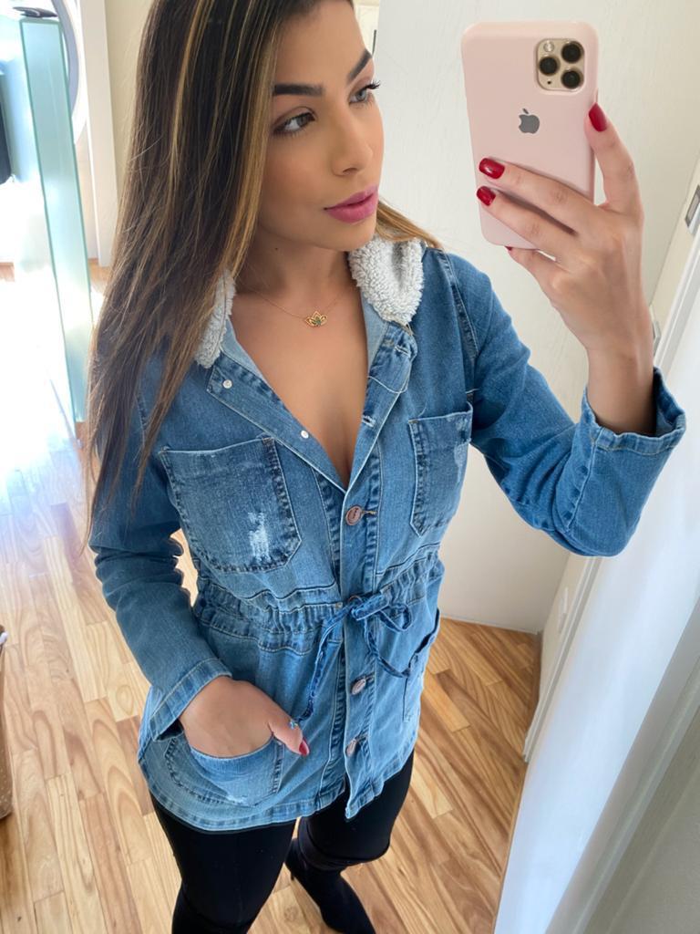 Parka jeans com botões