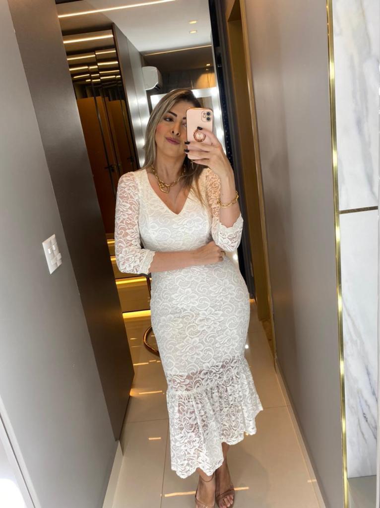 Vestido de renda com manga Longa Lorena