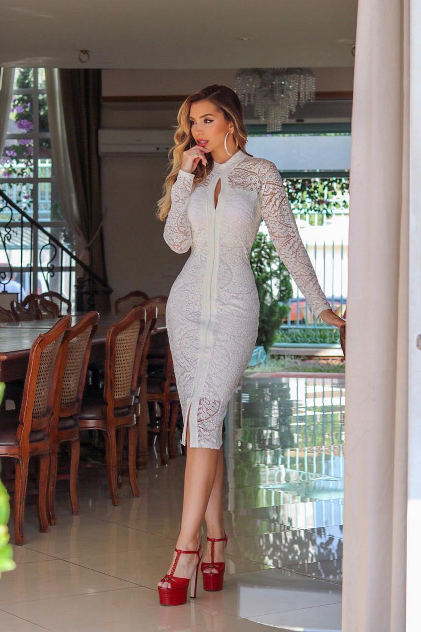 Vestido Midi com Fenda Joyce