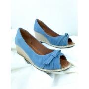 Anabela Peep Toe Azul Claro