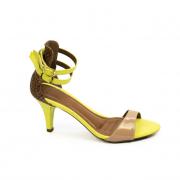 Sandália Salto Fino Neon amarelo com detalhe em Animal Print