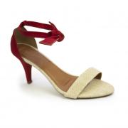 Sandália salto fino vermelha e natural