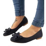 Sapatilha Jeans Bico Redondo
