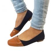 Sapatilha Milli  Jeans e Caramelo /  Bico Quadrado