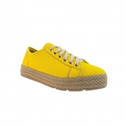 Tênis Em Suede Amarelo e Tressê