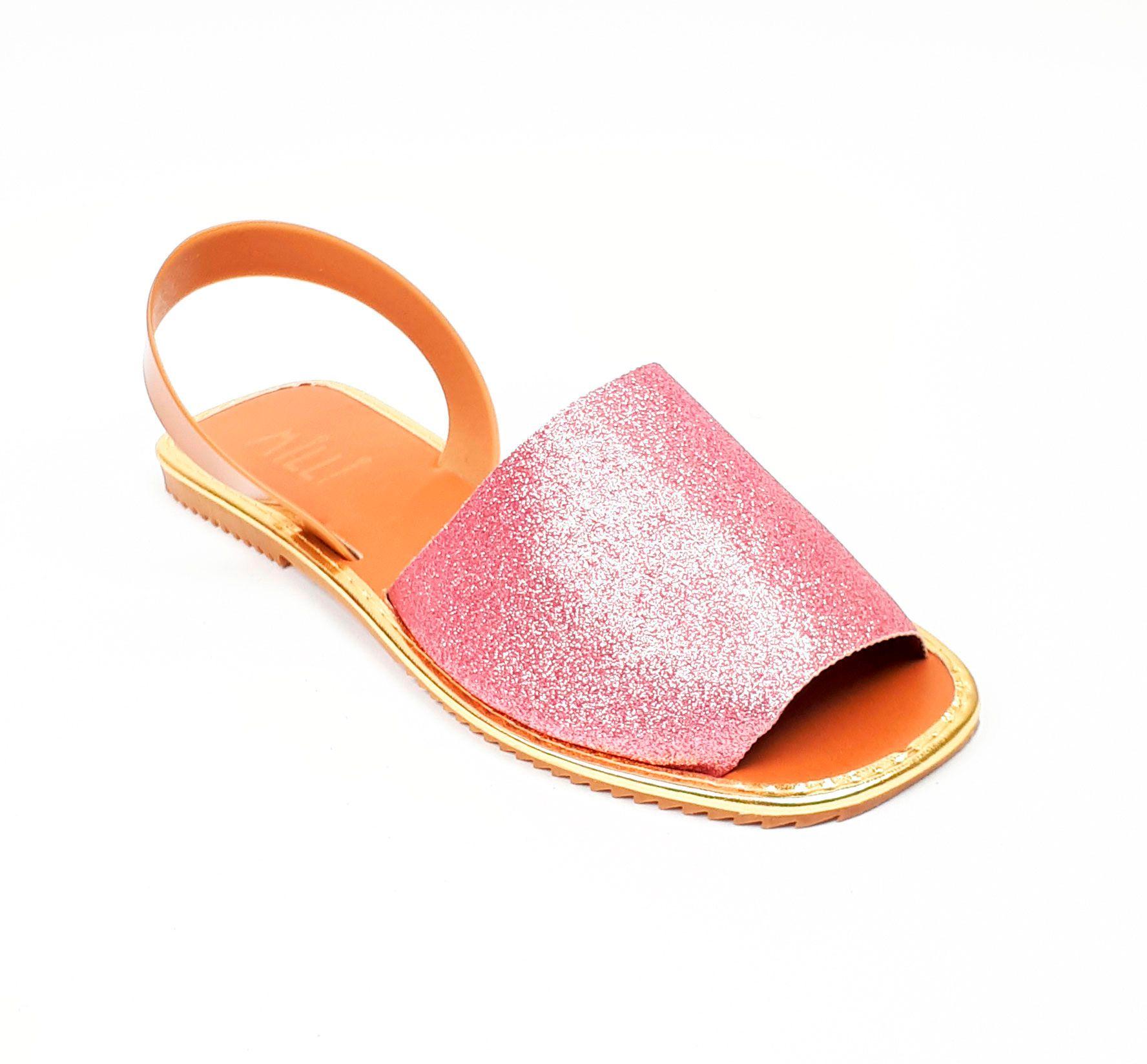 Avarca quadrada glitter rosa claro