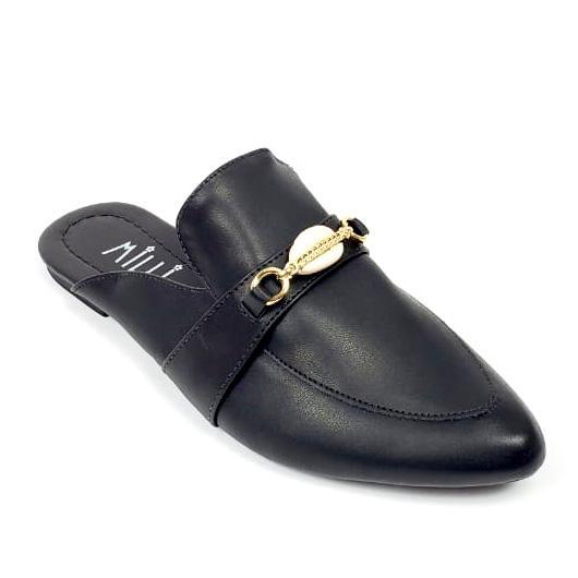 Mule Milli preto com detalhe